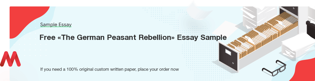 Custom «The German Peasant Rebellion» Essay Paper